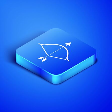 Isometric Bow and arrow icon isolated on blue background. Cupid symbol. Love sign. Valentines day concept. Blue square button. Vector Illustration Ilustração