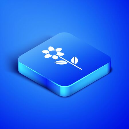 Isometric Flower icon isolated on blue background. Blue square button. Vector Illustration