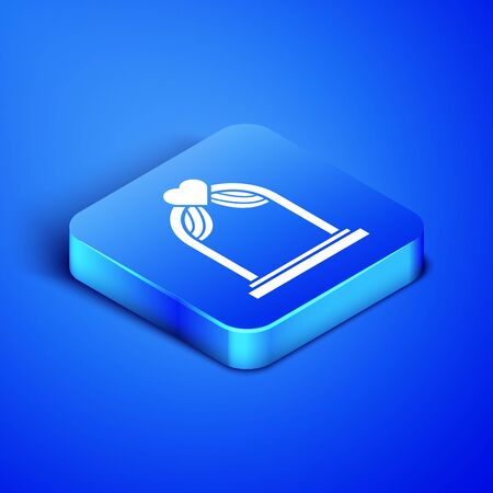 Isometric Wedding arch icon isolated on blue background. Wedding decoration. Blue square button. Vector Illustration