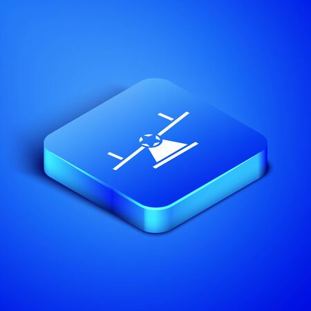 Isometric Seesaw icon isolated on blue background. Teeter equal board. Playground symbol. Blue square button. Vector Illustration