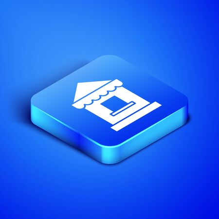Isometric Ticket box office icon isolated on blue background. Ticket booth for the sale of tickets for attractions and sports. Blue square button. Vector Illustration