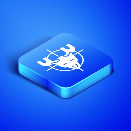Isometric Hunt on moose with crosshairs icon isolated on blue background. Hunting club logo with moose and target. Rifle lens aiming a moose. Blue square button. Vector Illustration