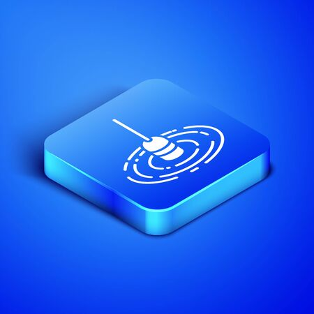 Isometric Fishing float in water icon isolated on blue background. Fishing tackle. Blue square button. Vector Illustration