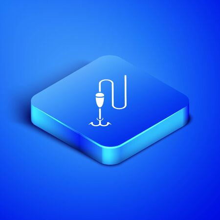 Isometric Fishing line with hook and float icon isolated on blue background. Fishing tackle. Blue square button. Vector Illustration