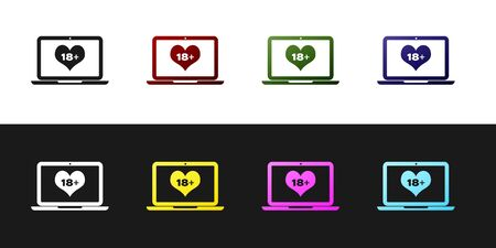 Set Laptop computer with 18 plus content heart icon isolated on black and white background. Age restriction symbol. 18 plus content sign. Adult channel. Vector Illustration