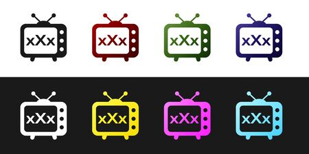 Set XXX tv old television icon isolated on black and white background. Age restriction symbol. 18 plus content sign. Adult channel. Vector Illustration Illustration