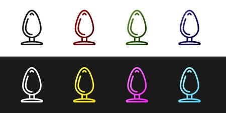 Set Anal plug icon isolated on black and white background. Butt plug sign. Fetish accessory. Sex toy for men and woman. Vector Illustration  イラスト・ベクター素材
