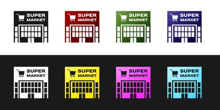 Set Supermarket building with shopping cart icon isolated on black and white background. Shop or store. Mall building. Vector Illustration 向量圖像