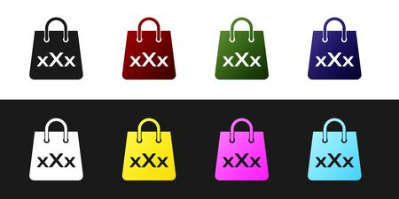 Set Shopping bag with a triple X icon isolated on black and white background. Vector Illustration