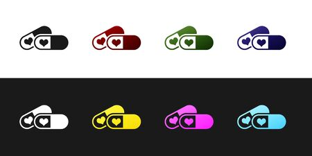 Set Pills for potency, aphrodisiac icon isolated on black and white background. Sex pills for men and women. Vector Illustration
