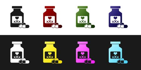 Set Medicine bottle with pills for potency, aphrodisiac icon isolated on black and white background. Sex pills for men and women. Vector Illustration Ilustracja