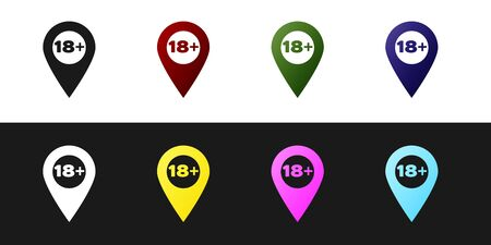Set Map pointer with 18 plus icon isolated on black and white background. Age restriction symbol. 18 plus content sign. Adults content only icon. Vector Illustration