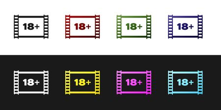 Set Play Video with inscription 18 plus icon isolated on black and white background. Age restriction symbol. 18 plus content sign. Adult channel. Vector Illustration