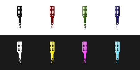 Set Spanking paddle icon isolated on black and white background. Fetish accessory. Sex toy for adult. Vector Illustration Vector Illustratie