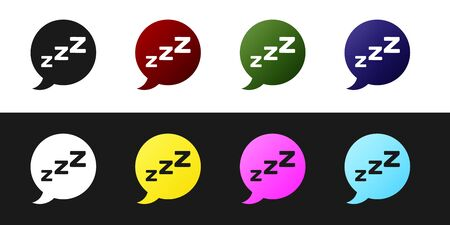 Set Speech bubble with snoring icon isolated on black and white background. Concept of sleeping, insomnia, alarm clock app, deep sleep, awakening. Vector Illustration Ilustração