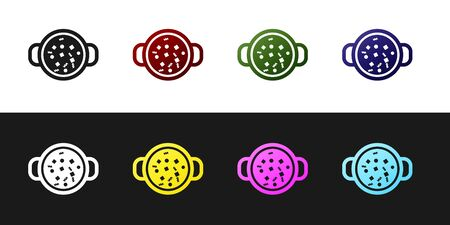 Set Cooking soup in pot icon isolated on black and white background. Boil or stew food symbol. Vector Illustration