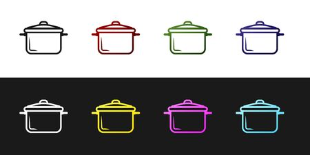 Set Cooking pot icon isolated on black and white background. Boil or stew food symbol. Vector Illustration
