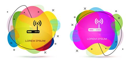 Color Router and wi-fi signal symbol icon isolated on white background. Wireless ethernet modem router. Computer technology internet. Abstract banner with liquid shapes. Vector Illustration