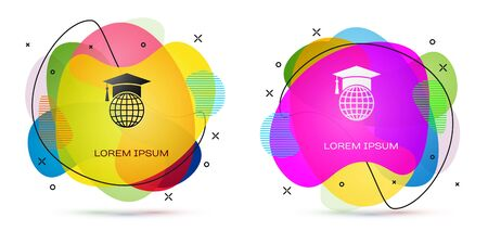 Color Graduation cap on globe icon isolated on white background. World education symbol. Online learning or e-learning concept. Abstract banner with liquid shapes. Vector Illustration