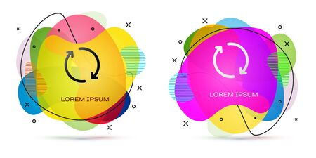 Color Refresh icon isolated on white background. Reload symbol. Rotation arrows in a circle sign. Abstract banner with liquid shapes. Vector Illustration