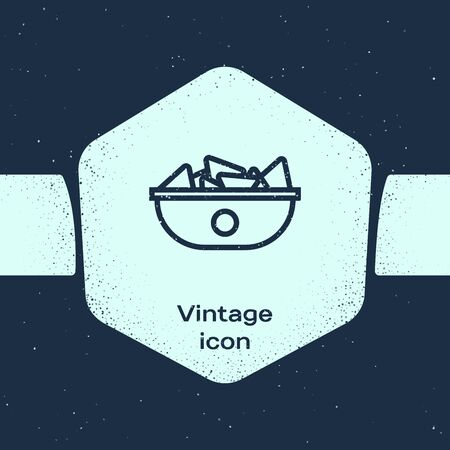 Grunge line Nachos in plate icon isolated on blue background. Tortilla chips or nachos tortillas. Traditional mexican fast food menu. Monochrome vintage drawing. Vector Illustration