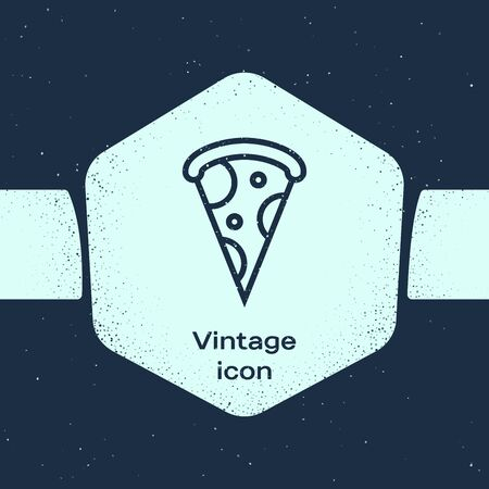 Grunge line Slice of pizza icon isolated on blue background. Fast food menu. Monochrome vintage drawing. Vector Illustration Иллюстрация