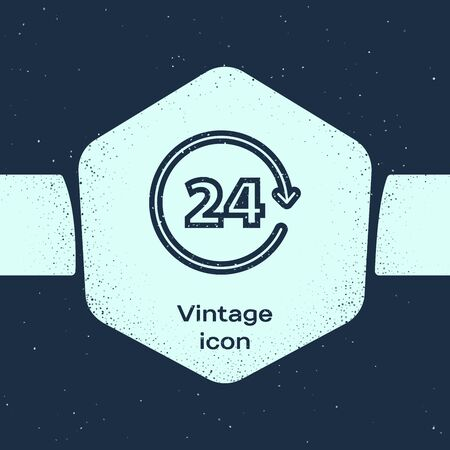 Grunge line Clock 24 hours icon isolated on blue background. All day cyclic icon. 24 hours service symbol. Monochrome vintage drawing. Vector Illustration 일러스트