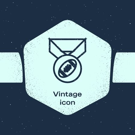 Grunge line American Football ball with medal icon isolated on blue background. Monochrome vintage drawing. Vector Illustration
