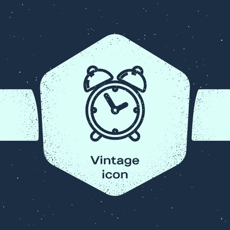 Grunge line Alarm clock icon isolated on blue background. Wake up, get up concept. Time sign. Monochrome vintage drawing. Vector Illustration