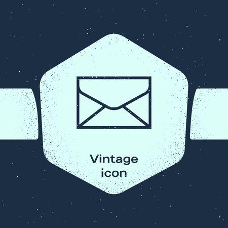 Grunge line Envelope icon isolated on blue background. Email message letter symbol. Monochrome vintage drawing. Vector Illustration