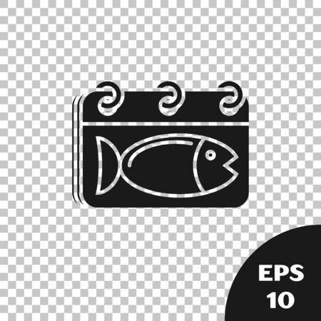 Black Calendar with a fish icon isolated on transparent background. Day of fish. Vector Illustration
