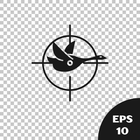 Black Hunt on duck with crosshairs icon isolated on transparent background. Hunting club logo with duck and target. Rifle lens aiming a duck. Vector Illustration