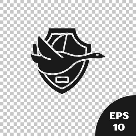Black Flying duck on shield icon isolated on transparent background. Hunting trophy on wall. Vector Illustration Ilustracja