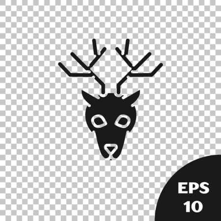 Black Deer head with antlers icon isolated on transparent background. Vector Illustration Illustration