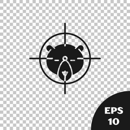 Black Hunt on bear with crosshairs icon isolated on transparent background. Hunting club logo with bear and target. Rifle lens aiming a bear. Vector Illustration