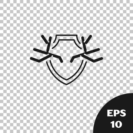 Black Deer antlers on shield icon isolated on transparent background. Hunting trophy on wall. Vector Illustration 矢量图像