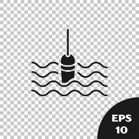 Black Fishing float in water icon isolated on transparent background. Fishing tackle. Vector Illustration