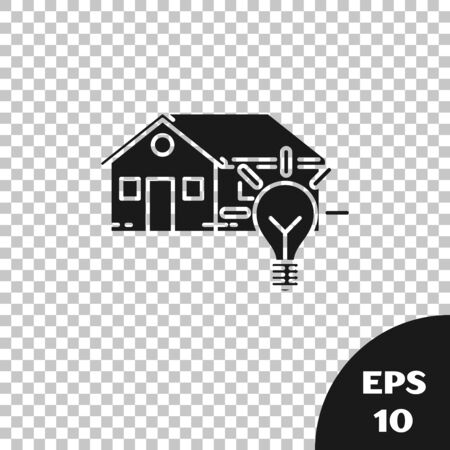 Black Smart house and light bulb icon isolated on transparent background. Vector Illustration