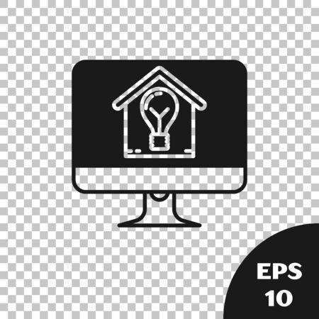 Black Computer monitor with smart house and light bulb icon isolated on transparent background. Vector Illustration Stock Illustratie