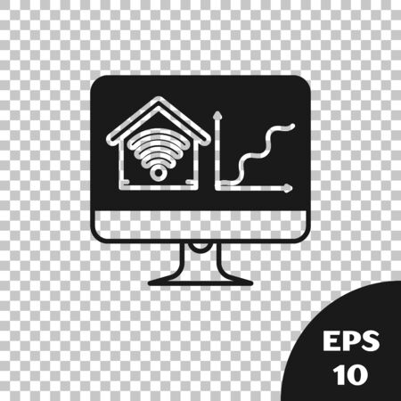 Black Computer monitor with smart home with wi-fi icon isolated on transparent background. Remote control. Vector Illustration