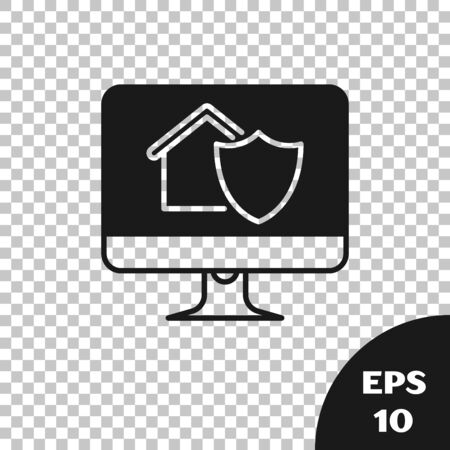 Black Computer monitor with house under protection icon isolated on transparent background. Protection, safety, security, protect, defense concept. Vector Illustration  イラスト・ベクター素材