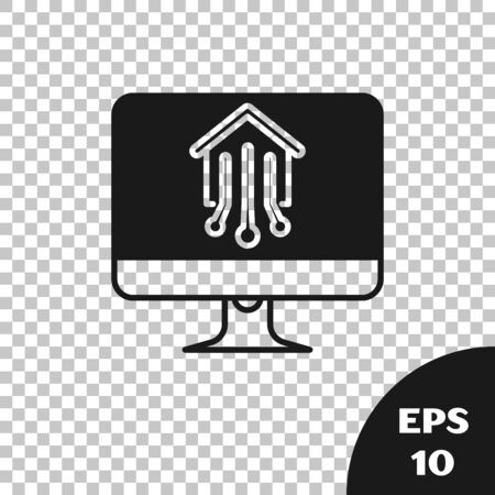 Black Computer monitor with smart home icon isolated on transparent background. Remote control. Vector Illustration
