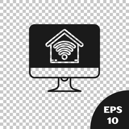 Black Computer monitor with smart home with icon isolated on transparent background. Remote control. Vector Illustration