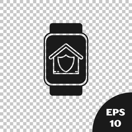 Black Smart watch with house under protection icon isolated on transparent background. Protection, safety, security, protect, defense concept. Vector Illustration