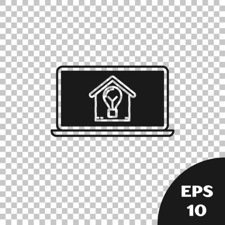 Black Laptop with smart house and light bulb icon isolated on transparent background. Vector Illustration Stock Illustratie
