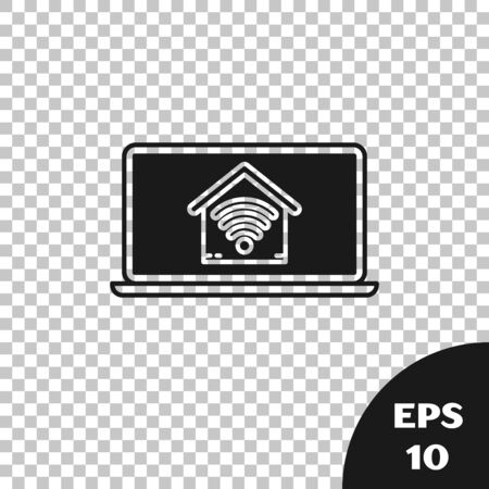 Black Laptop with smart home with wifii icon isolated on transparent background. Remote control. Vector Illustration Ilustração
