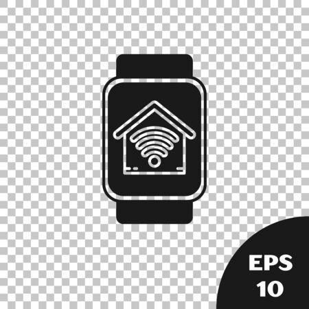 Black Smart watch with smart home with wifi icon isolated on transparent background. Remote control. Vector Illustration