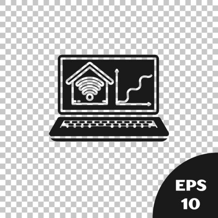 Black Laptop with smart home with wifi icon isolated on transparent background. Remote control. Vector Illustration