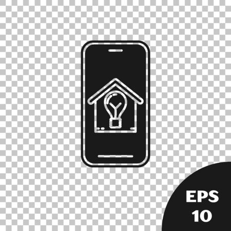 Black Mobile phone with smart house and light bulb icon isolated on transparent background. Vector Illustration
