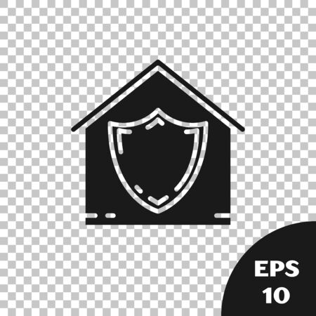 Black House under protection icon isolated on transparent background. Protection, safety, security, protect, defense concept. Vector Illustration